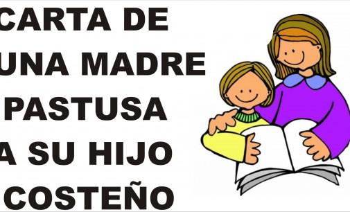 Carta conmovedora de una madre pastusa a su hijo costeño