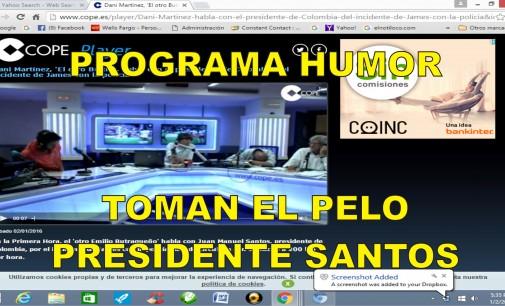 Humoristas españoles, hacen llamada teléfonica, al presidente Santos y cae con pega por lo de James tenemos video jajajaaj