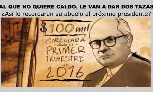 Billete colombiano con la imagen del abuelo de Vargas Lleras