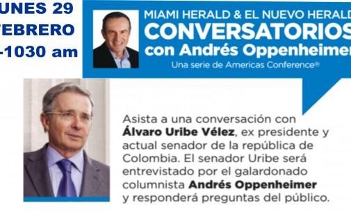 Alvaro Uribe estara este lunes 29 febrero en Miami