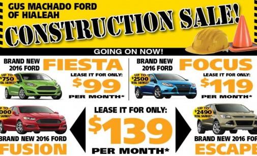 En Gus Machado Ford, salga manejado su carro desde  $ 99