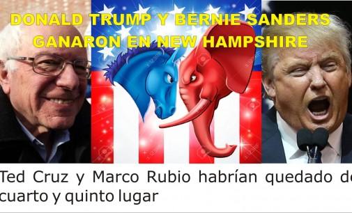 Donald Trump y Bernie Sanders ganan primarias en New Hampshire