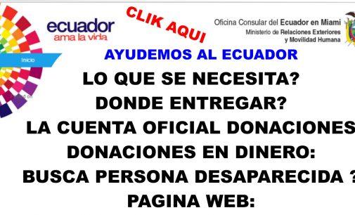 Consulado Ecuador, donde donar, páginas web, Link directos aquí.