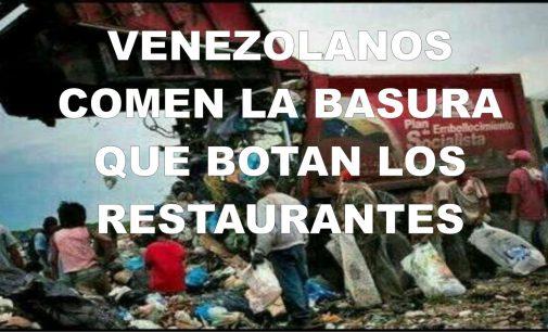 Venezolanos comen la basura que botan los restaurantes