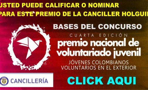 Premio Nacional voluntariado colombiano todo el mundo bases concurso