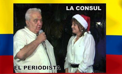 Hoy independencia saludamos la primera autoridad la señora cónsul con dichos colombianos