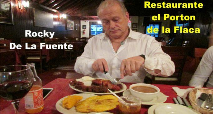 En el restaurante de la flaca Sol, el millonario aspirante al senado Rocky de la Fuente disfrutando la bandeja paisa