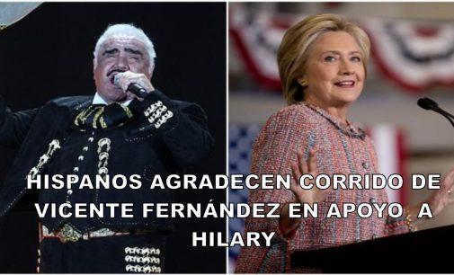 Hispanos  con corrido de Vicente Fernández en apoyo a Hilary