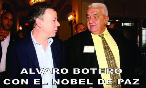 Esta foto fue con el presidente Santos, hoy estoy con el Nobel de paz.