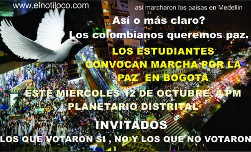Estudiantes convocan marcha paz este miércoles 12 de octubre Bogota  4 pm