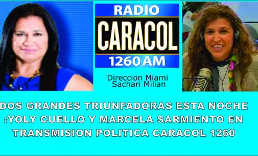 Dos grandes triunfadoras esta noche Yoly Cuello Y  Marcela Sarmiento Caracol 1260