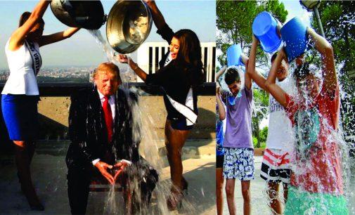 Cuando Trump acepto el reto de echarse el balde de agua con hielo