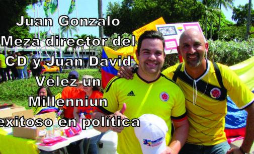 Juan David Vélez director politico CD muy convincente en la Marcha en Miami