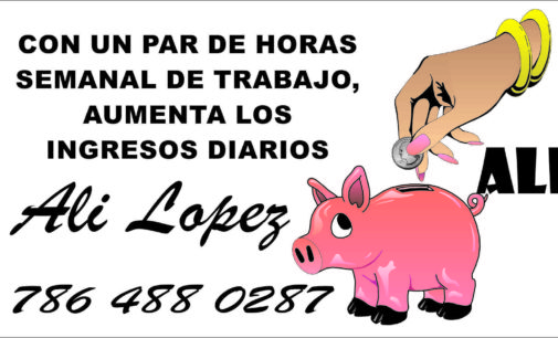 Con un par de horas  semanal de trabajo, aumenta los  ingresos diarios Ali López 786 488 0287