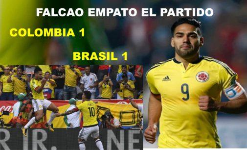 Con gol de Falcao empato 1 – 1 contra Brasil (un perro en el partido)