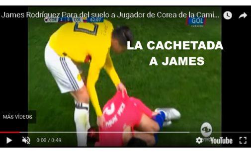 La cachetada que le dio jugador coreano a James en la cancha video