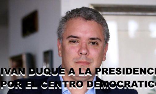 Ivan Duque es el candidato del Centro Democratico a la presidencia