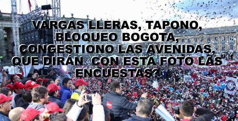 Vargas Lleras, tapono, bloqueo Bogota, congestiono las avenidas, Que dirán  con esta foto las encuestas?