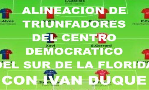 Alineación del equipo triunfador del Centro Democrático de la Florida, con Ivan Duque de presidente de Colombia