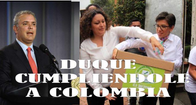 Duque logro juntar los que serian, buenos y  malos y 12 millones iniciados con firmas por Claudia y la juventud.