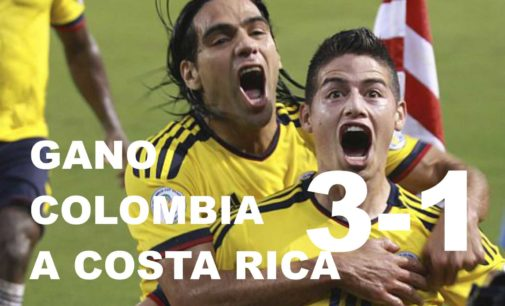 Colombia vence 3-1 a Costa Rica