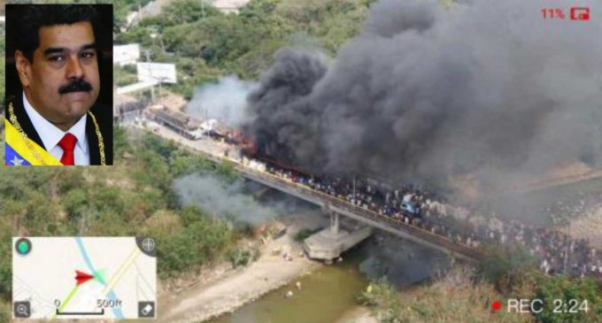 Queman camión con medicinas y ayuda humanitaria en la frontera de Venezuela (VIDEO) y rompe con Colombi.
