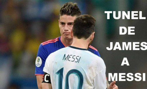 El tunel que le hizo James a Messi en partido de hoy Argentina Colombia