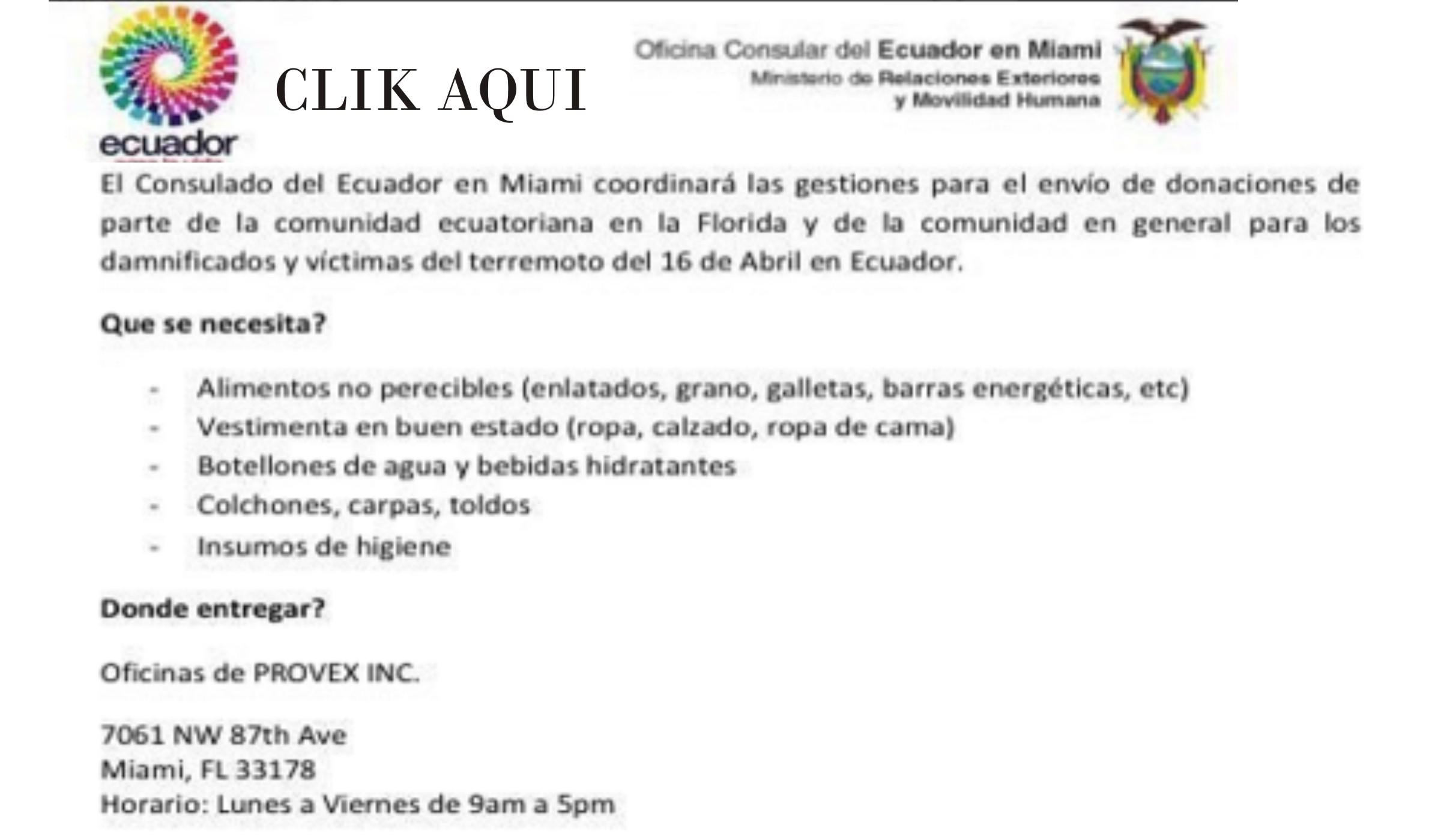 ecuador donaciones