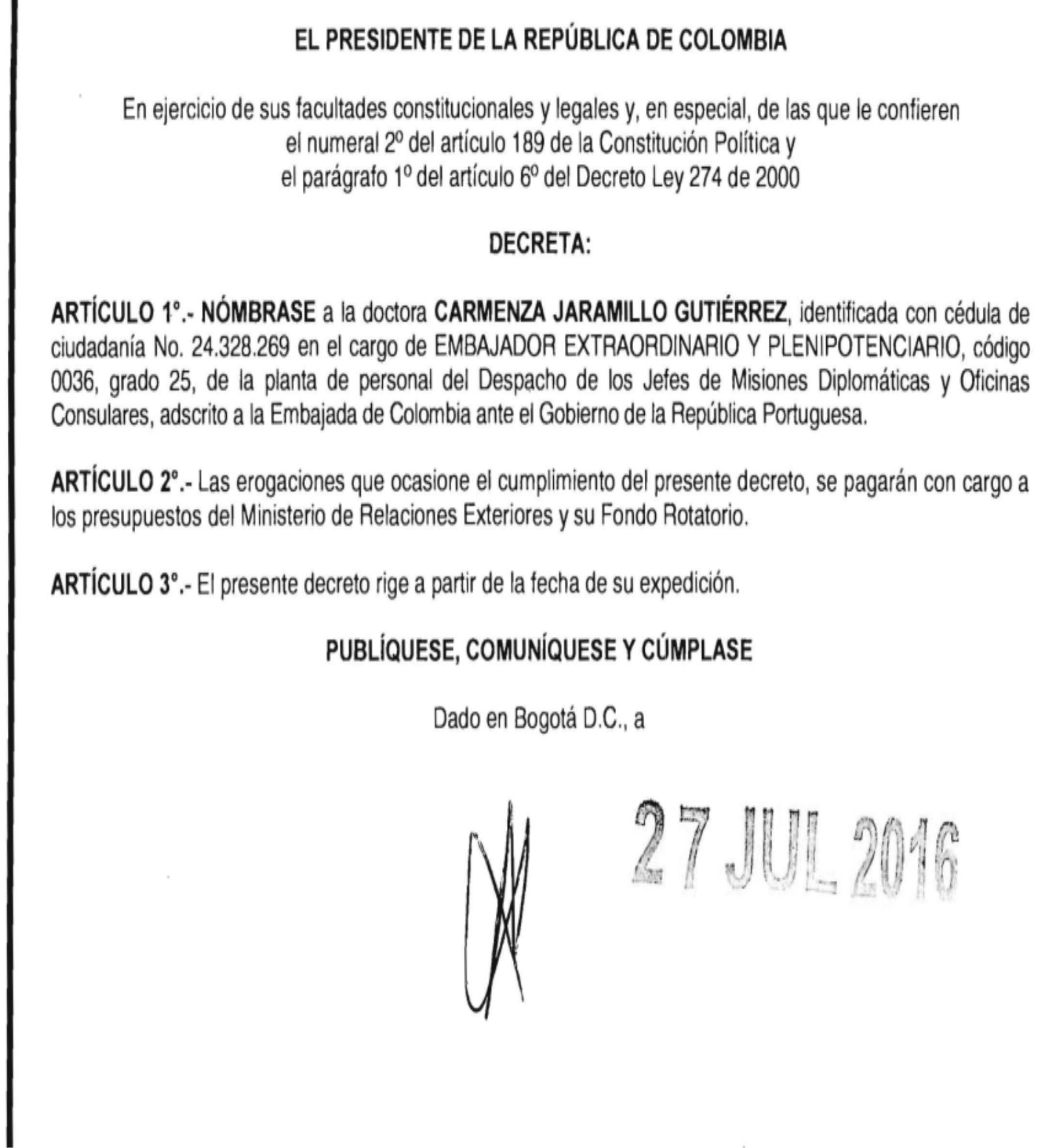 Decreto carmenza